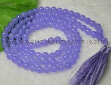 AAA 8mm*108 Lavender Jade Gems Tibetan Buddhist Prayer Beads Mala Necklace