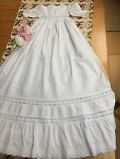 ANTIQUE CHRISTENING GOWN COTTON DRESS BRODERIE ANGLAISE EMBROIDERED VINTAGE