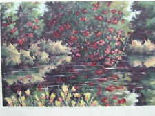 CLEMATIS POND by Peggy Carthouts.  Signed monoprint.