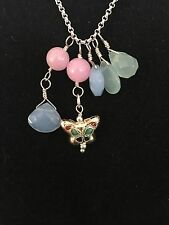 Golden butterfly with Jade stones Prosperity pendant Sterling Silver Necklace