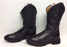 WOMENS JUSTIN COWBOY LEATHER BLACK BOOTS SIZE 6 B
