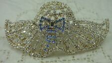 VINTAGE 1980'S SPARKLY CLEAR RHINESTONE BLUE BOW LARGE HAIR HAT BARRETTE