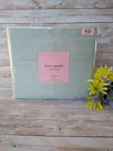 NWT Kate Spade King Sheet Set 300 Thread Count Sateen, Pastel Mint Bedding