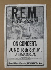 REM Mission Theatre SANTA BARBARA 1984 CONCERT Flyer RECKONING Dream Syndicate