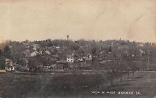 West Branch Iowa~Hillside Panorama~Homes~Water Tower in Skyline~1912 RPPC