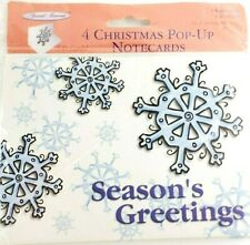 New Package 4 Christmas PopUp 3D Snowflakes Note Cards Envelopes Holiday Vtg