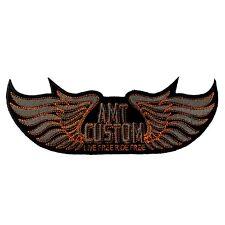 """Patch écusson Biker AMT Custom """"Live Free"""" ailé Shop thermocollant moto custom"""