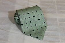 LORD AND TAYLOR Green Geometric Classic Woven 100% Silk Tie