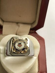 "New Men's Heavy Stainless Steel ""Coast Guard"" Ring"
