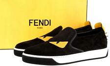 NEW  FENDI ROMA BLACK LEATHER MONSTER BUGGIES EYE SNEAKERS SLIP-ON SHOES 10.5