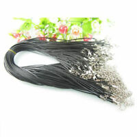 10Pcs Black PU Leather Cord String Rope Lobster Clasp For DIY Necklace