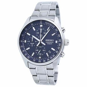 Seiko Chronograph Blue Dial Stainless Steel Men's Watch SSB377