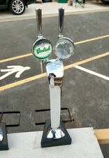 More details for twin chrome double beer font tap pump grolsch  man cave home bar garden party