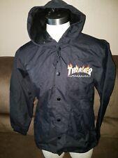 Thrasher Flame Magazine Black Hooded Coaches Jacket Medium New.