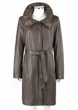 TAHARI Graphite Gray Leather Pleated Collar Belted Jacket Trench Coat Size L