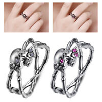 Halloween Punk Cut Ruby Crystal Skeleton Skull Finger Rings Charm Jewelry Gifts