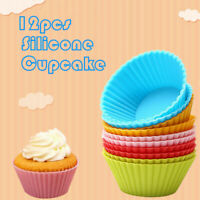 12pcs Silicone Cake Muffin Cupcake Cup Mold Bakeware Baking Mould Kitchen Tools