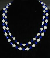 "Vintage Royal Blue White Plastic Beaded Necklace Double Strand 24"" Retro Jewelry"