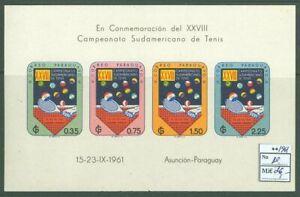Paraguay A02 MNH 1961 s/s Sports Tennis CV 26 eur
