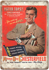 """Chesterfield ABC Cigarette Tobacco Ad 10"""" X 7"""" Reproduction Metal Sign Y15"""