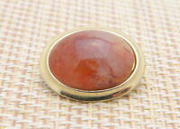 Red Orange Agate Oval Gold Tone Pin Brooch Vintage