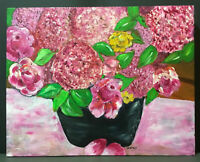 Beautiful Painting Oil On Canvas~Cabbage Roses~Floral~Bright Colors~Signed