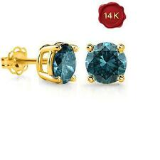 14K SOLID YELLOW GOLD 0.18 CTW BLUE DIAMOND STUDS