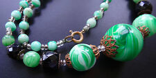 vintage art deco marble green & white glass fancy brass bead necklace -N144
