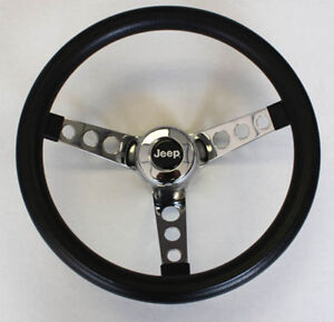 "New! 1976-95 Jeep CJ5 CJ7 YJ Classic GRANT Black Steering Wheel 13 1/2"" Horn Kit"