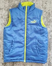 Puma Reversible Puffer Vest Blue Neon Yellow Boy's Youth Sz Medium