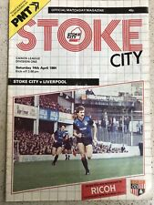 Stoke City v Liverpool 14th April 1984 Programme