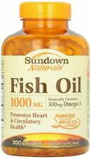 Sundown Naturals Fish Oil 1000mg|300mg Omega-3 - 200 Softgels