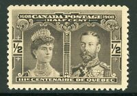 Canada 1908 Quebec Tercentenary½¢ Brown Scott #96 Blue Mint F276