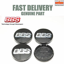 4x Genuine BBS Centre Caps Carbon and Silver Logo BBS 56mm CH RX RA RK SR NEW