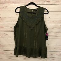 a.n.a. A New Approach Women's Boho Rich Avocado Embroidered Sleeveless Top M