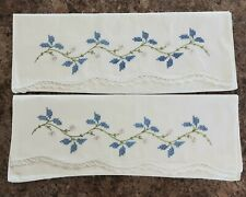 """Set of Vintage Embroidered Crocheted Pillow Cases Leaves and Floral 28"""" x 21"""""""