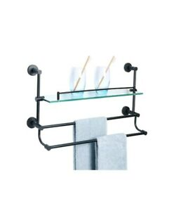 Bathroom Towel Bars Shelf SUS 304 Stainless Steel Shower Glass With Double Rack