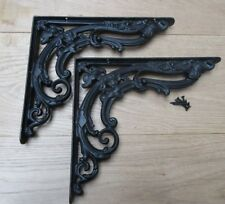 """Pair of 8"""" BLACK FLORAL cast iron shelf wall brackets vintage old style"""