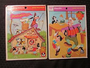 1970's Whitman Frame-Tray Puzzle MICKEY MOUSE CLUB / PINOCCHIO Lot of 2 VG/VG+