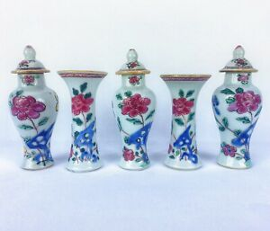 Yongzheng Chinese Antique Porcelain Set Of Five Flower Famille Rose Vases