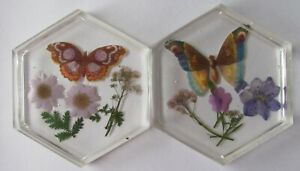 Handmade Resin Hexagonal Coloured Coasters/Coasters/Home/Gifts Butterfly 4""