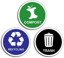 3x Green Blue Black Garbage Recycling Compost Decal Sticker Trash  Reuse Renew