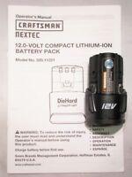 CRAFTSMAN NEXTEC BATTERY DIEHARD 320.11221 12V 12 VOLT LITHIUM ION LION - NEW!