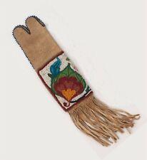 ca1910s Native American Cree Indian Bead Decorated Diminutive Hide Tobacco Bag