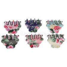 6Pcs Colorful Cute Peony Flower Print Gripper Claw Hair Clip Hair Accessory
