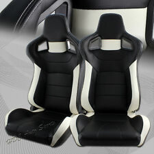 Black/White Stripe PVC Leather Sport Reclining Racing Seats +Sliders Universal 1