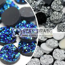 25 X DRUZY RESIN 12X5MM ROUND FLAT CABOCHONS - PICK COLOUR