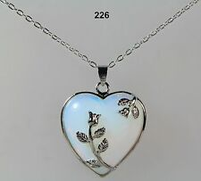 Opalite moonstone blue/white heart pendant necklace,silver-plated detail,chain