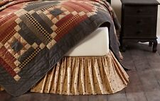 MAISIE Queen Bed Skirt Dust Ruffle Ditsy Floral Tan Ruffle Farmhouse Country VHC