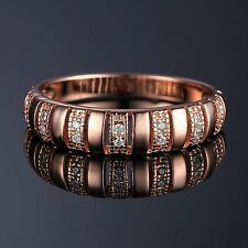5mm Fabulous18ct Rose Gold Plated Solid Sterling Silver Diamond Ring Size 7 Hot